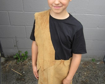 Upcycled Clothing, Custom Mowgli Costume, Orange Suede Leather Tunic, Jungle Book Costume, Youth/Child Costume