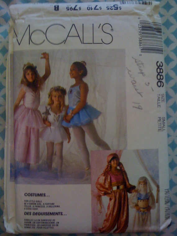 Vintage 80s McCalls Sewing Pattern 3886 Girls Harem Girl, Fortune Teller, Princess, Ballerina, and Fairy Costume Size Small