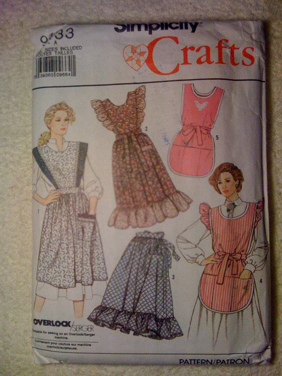 Simplicity Crafts Sewing Pattern 9433 Misses Aprons Vintage 80s All Sizes Sale