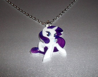 Rarity Necklace, Kawaii My Little Pony, Laser Cut Pendant
