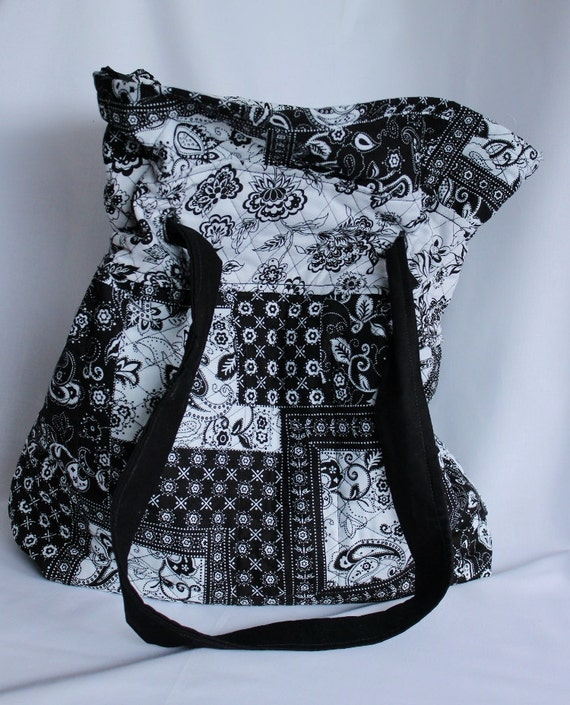 diaper bag black and white quilted cotton with by. Black Bedroom Furniture Sets. Home Design Ideas