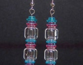 Blue, pink, and clear earrings with stainless steel or silver plated ear wires