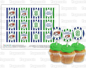 Printable DIY Green and Blue All Star Sports Balls Theme Personalized Happy Birthday Cupcake Toppers
