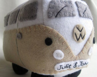 VW Campervan Gift VW Campervan Plush Collectible, Personalized Car Toy, Made to Order