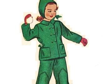 Simplicity 2630 UNCUT Super Cute Vintage 40s Childs Snow Suit and Helmet Hat Sewing Pattern Size 5