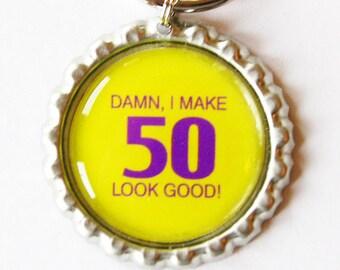 50th birthday, fifty, 50, key chain, key ring, 50 birthday, 50th, birthday gift, birthday key chain (1715)