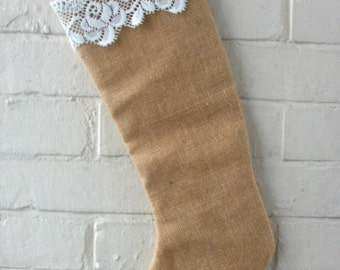 Natural Burlap Christmas Stocking  with off white Vintage  Lace Trim