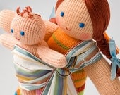 Babywearing Mommy Doll with a Baby Doll - knitted play dolls, eco-friendly, maternity, waldorf, eco toys - FrejaToys