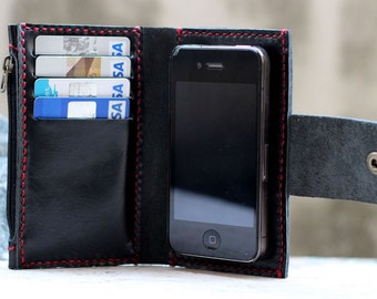 iPhone4/ Black-red leather iPhone wallet with case and mini zip