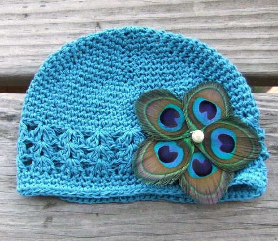 Peacock Feather Flower on Blue Crochet Baby Hat, Baby Girl,  Baby Hair Accessories, Newborn Hat
