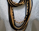 Recycled T Shirt Scarf Black and Gold Team Colors