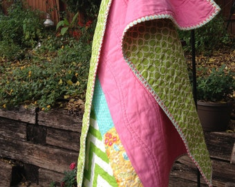 Pink and Green Modern Baby Quilt