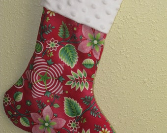 Homemade Christmas Stocking - Christmas Gift Idea - Christmas Ornament, Holiday Decor, Minky Cuff Lined and Padded