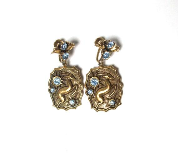 1950s Gazelle Screwback Earrings - Gold Rhinestone Earrings - Mad Men Jewelry - by Coro