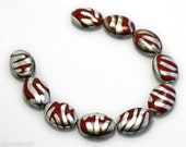 Dark Red Vitrail Silver Czech Beads 20mm (8) Opaque Flat Oval Pressed Glass Metallic Striped