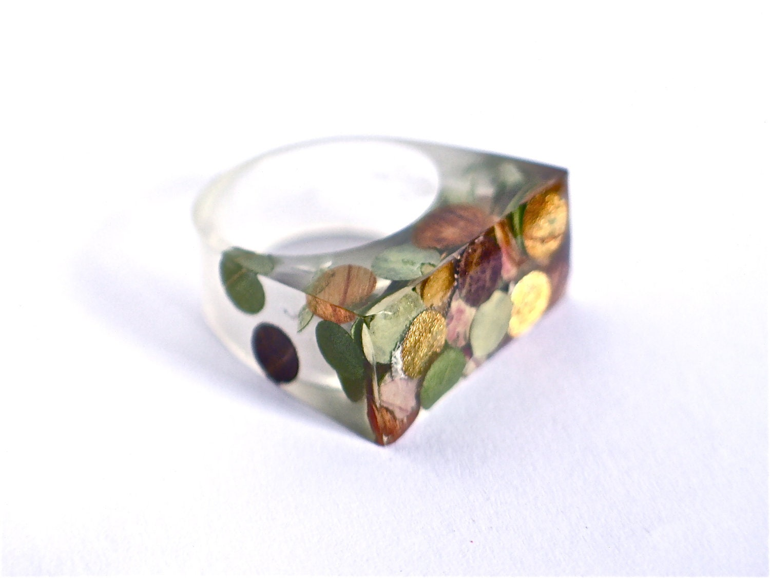 Resin Ring Resin Jewelry Vegetal Confetti Autumn Leaves