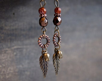 Autumn Fall Earrings Autumn Leaf Jewelry Fall Leaf Earrings Mixed Metal Earrings Earth Tones Brown Beaded Earrings Woodland Earrings Nature