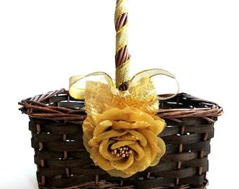 Flower Girl Basket - Gold Rose Basket - Gold Flower Girl Basket - Brown Basket with Gold Rose - Choose Your Flower, Choose Your Ribbon