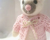 Needle felted toy -  white bear toy - Eco friendly - Made to order