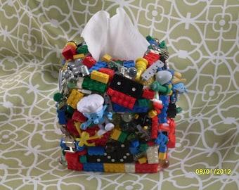 Tissue Box Cover Holder Toy embellished decorated kids bed or bath, Kleenex, Lego, child