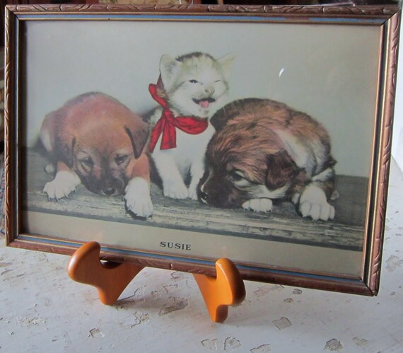 Vintage Animal Print Susie Dogs Cat Childrens Art Retro Puppy Kitty Framed in Original Frame Childs Room Baby Nursery veterinary art