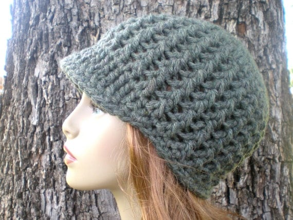 Crochet Patterns Chunky Yarn : crochet PDF, Adult/ teen, newsboy beanie, visor, bulky chunky yarn ...