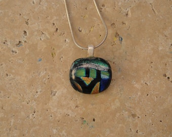 Fused Dichroic Glass Multi-Colored Pendant - BHS02105