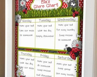 Custom Printable Girl Chore Chart Eight Designs Available
