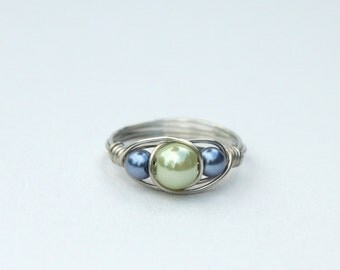 Glass pearl beaded ring, in light green and blue, silver toned wire wrapped, any size bead wire ring, more colors available