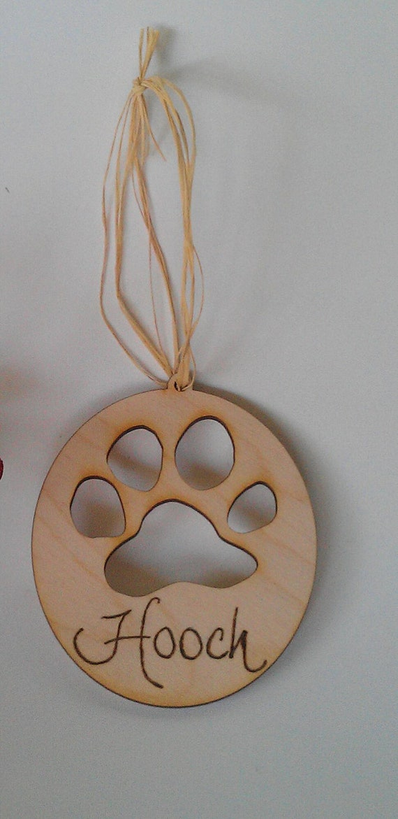 Dog Paw Wooden Rustic Christmas Ornament by WildFireFlies ...