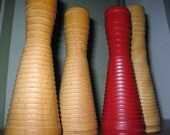 Vintage Danish modern wooden candle holders made from spools by Dixie Bobbin