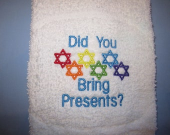 Star of David Hanukkah Towel Rainbow Gay Pride Embroidered