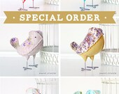 Special Order for Jenna - 6 Fabric Birds in Vintage Fabric - Baby Nursery Decor