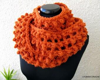 Crochet Scarf PATTERN, Infinity Orange Scarf, Chunky Scarf, DIY Scarf, Autumn Gift For Her, Instant Download PDF Pattern #62 Lyubava Crochet