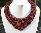 Bead embroidered collar - red and brown necklace - statement necklace - red jewelry