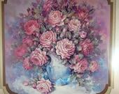 Vintage Home Interior Framed Matted Flower in Vase Picture