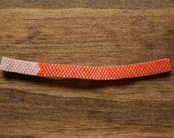 Peach and Carrot Orange Chevron Colorblock Peyote Bracelet