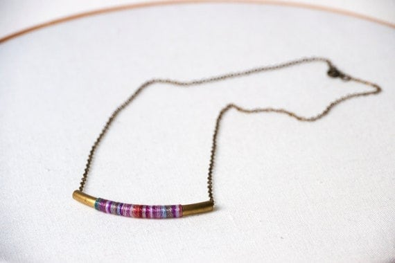 Brass Tube Necklace - dyed multicolor cotton thread wrapped