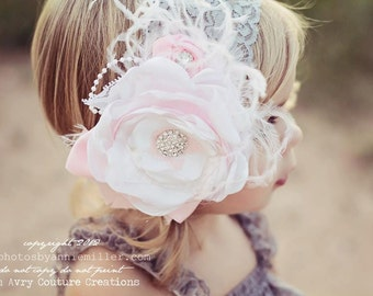 Baby Girl Headband- Baby headbands- Newborn Headband- Flower Girl Headband -Baby headbands-Photo Prop