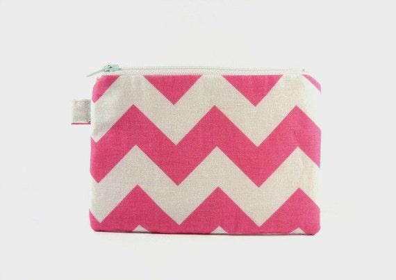 Pink white chevron - Small zipper pouch / coin purse / makeup bag