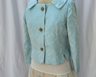 Blue Satin Brocade Jacket, blue rhinestone buttons, vintage 1950s, size small (4, 6, 8)