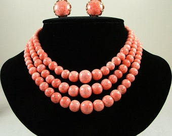 NETTIE ROSENSTEIN Necklace and Earrings Set Speckled Faux Coral