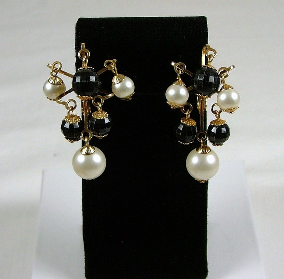 Black and White Chandelier Clip On Earrings