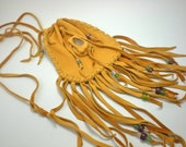 Medicine Bag/Totem Bag Deerskin with Quartz Stone Setting Handmade