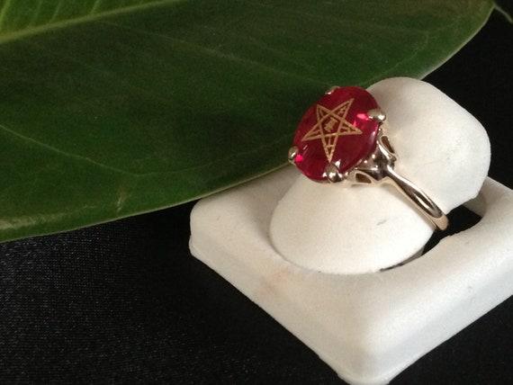 Women S Red Stone Eastern Star Masonic Ring