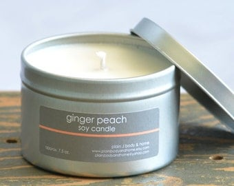 Ginger Peach Soy Candle Tin 8 oz. - peach soy candle - ginger peach scent - summer scent candle - food soy candle