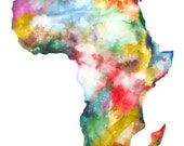 8x10 Africa Map Print, Watercolor Painting, Colorful Watercolor Map