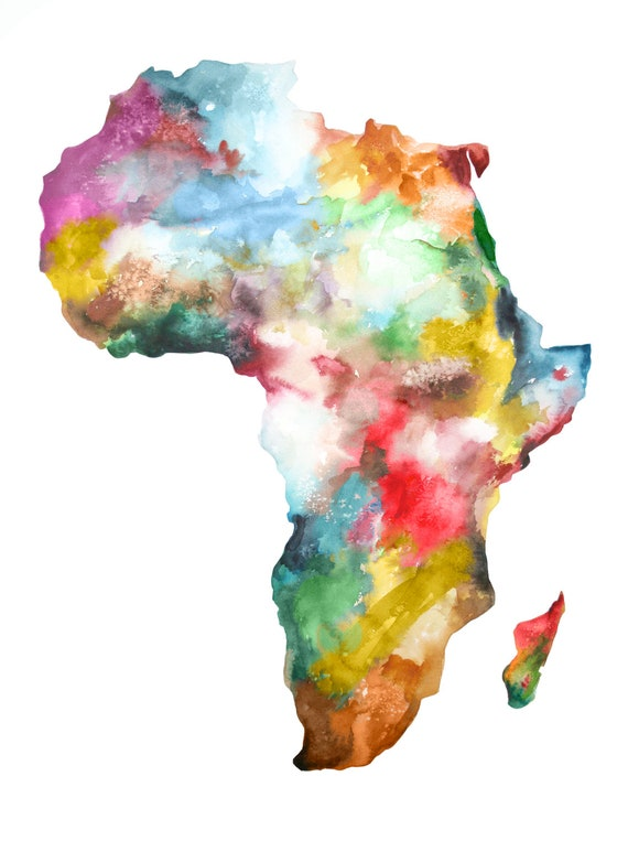 Items Similar To Large Africa Map Painting Print Colorful