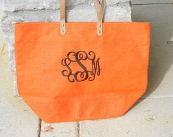 Monogrammed Tangerine Orange Jute Bag Font Shown INTERLOCKING in Chocolate