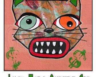 Outsider Folk Art Cat Print, Lucky Money Outsider Cat, Ugly Cute Cat Art, Raw Outsider Art Cat Print, Outsider Cat by Windwalker Art